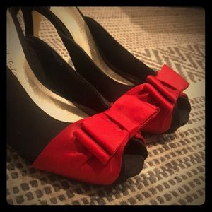 Black Satin Peep Toes w/ red bows